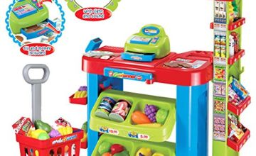 deAO Kids Supermarket Stall Toy Shop with Shopping Trolley and Over 30 Play Food Accessories Included