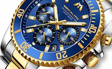 Mens Watches Men Designer Chronograph Military Waterproof Luminous Stainless Steel Wrist Watch Large Date Analogue Watches for Men