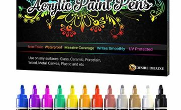 Desire Deluxe Acrylic Paint Pens - Non Toxic Water Based Rock Painting Waterproof Kit Markers for Stone, Ceramic, Glass, Wood, Porcelain, Pebbles - Reversible Round Tip
