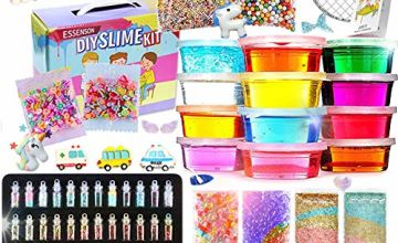 Slime Kit - Slime Making Kit for Kids Art Craft, with 48 Glitter Powder, 12 Crystal Clear Slime, Glitter, Unicorn Charms, Fruit Slices, Fishbowl Beads Girls Toys Gifts for Kids Age 6+ Year Old
