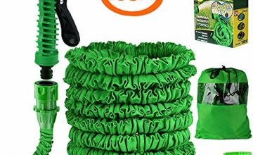Liwiner Garden Hose Pipe 100FT 3 Times Expanding Flexible Magic Light Weight Hose Pipes Reel with 7 Prayer Gun for Washing Car/Watering Flowers/Vegetables/Cleaning Windows/Floor (Green)