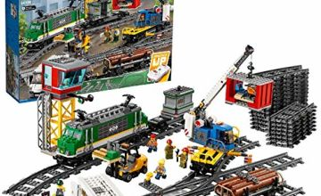LEGO 60198 City Cargo Train Set Battery Powered Engine for 6 Year Old, RC Bluetooth Connection, 3 Wagons, Tracks and Accessories
