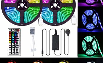 LED Strip Lights, CGN 10M Strips Lighting Kit IP65 Waterproof 300LEDs 5050 RGB 12V Power Adapter 44 Key IR Remote Control Color Changing LED Strip Light for Garden Bar Party Home Decorations 2x5m