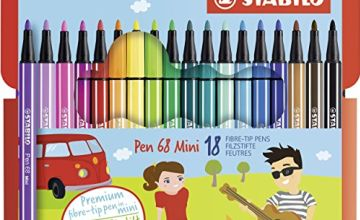 Premium Felt Tip Pen - STABILO Pen 68 Mini Wallet of 18 Assorted Colours