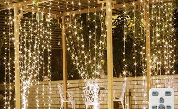 Fenvella Fairy Curtain Lights, 300 LEDs 9.8Ft/3M LED String Lights. 8 Different Modes of Remote Control Timer USB String Lights for Indoor, Outdoor, Holiday, Party, Festival