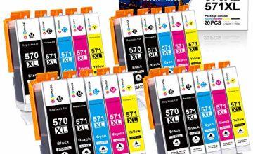 GPC Image 20 Pack PGI-570XL CLI-571XL Compatible Ink Cartridges for Canon 570 571 XL for Canon PIXMA MG5700 MG5750 MG5751 MG6850 MG6851 TS5050 TS5051 TS6050 (4 PGBK,4 Black,4 Cyan,4 Magenta,4 Yellow)