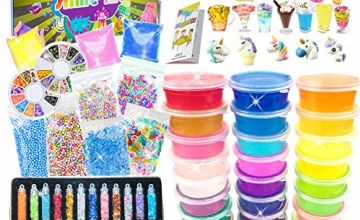 BULUNO DIY Slime Kit for Girls Boys - Slime Making Kit with 24 Colors Crystal Clear Slime, Glitter Powder, Unicorn Slime Charms, Air Dry Clay, Kids Art Craft Toys Gifts for Kids Age 6+ Year Old