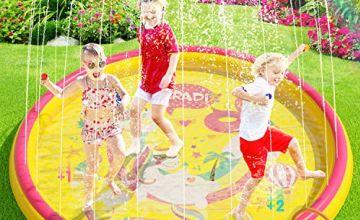Peradix Sprinklers Pad - Water Splash Play Mat Summer Outdoor/Garden/Beach Water Spray/Sprinkle Mat Pool Toys Games For Kids/Children/Toddler Activities