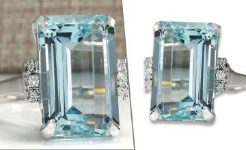 Synthetic Crystal Aquamarine Ring