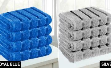 4 x Satin Stripe Egyptian Cotton Jumbo Bath Sheets - 9 Colours