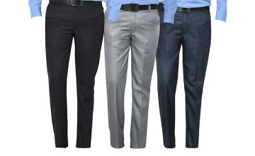 3-Pack of Mens Formal Trousers - 3 Colours & 6 Sizes