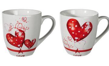 4-Piece Set of Love Heart Coffee Mugs