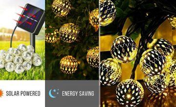 20, 30 or 50 Metal Ball Solar Lights - 2 Metal Colours & 2 Light Colours