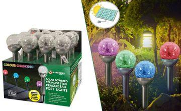 4 Crackle-Ball Solar-Powered Light Posts