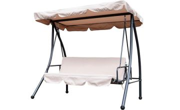 2-in-1 Garden 3-Seater Swing Chair And Sun Bed