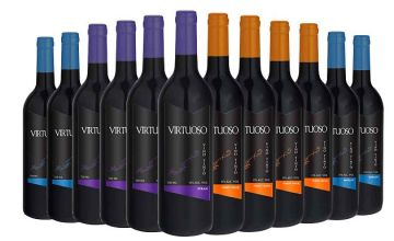 12 Bottles of Luxury Virtuoso Red Wine - Merlot, Sauvignon, Pinot Noir & Syrah