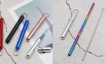 Folding Stainless Steel Metallic Straw with Collapsible Cleaning Brush - 6 Colours