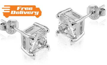 Square Cut 18K White Gold Plated Earrings