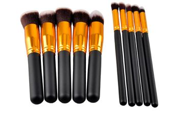 10 Piece Gold & Black Make-up Brush Set