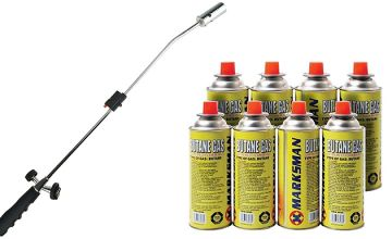 Butane Gas Canisters with Optional Weed Burner Wand - 2, 4, 8 or 12 Canisters