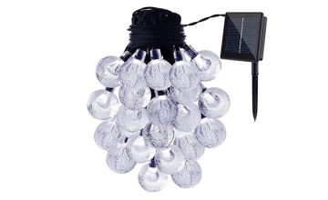 30 LED Solar Crystal Globe String Lights- 3 Colours