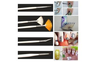 20-Piece Glamza Nail Art Dotting Brush Set & Case