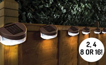 Solar-Powered Fence Lights - 2, 4, 8 or 16