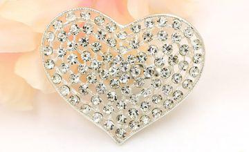 Heart Synthetic Crystal Brooch
