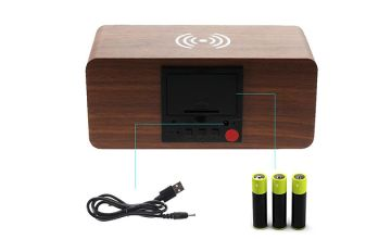 Wooden LED Alarm Clock & Wireless Phone Charger - 4 Colours