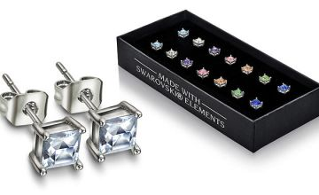 Set of 7 Stud Earrings Made With Crystals From Swarovski