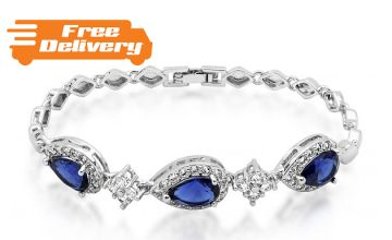 18K White Gold-Plated Bracelet With Created Blue Sapphire