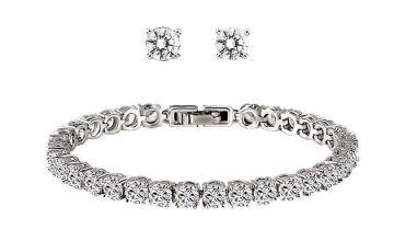 Swarovski Elements Tennis Bracelet and Earrings Set