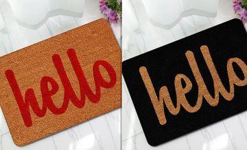 Printed 'Hello' Door Mat - 4 Colours & 3 Sizes