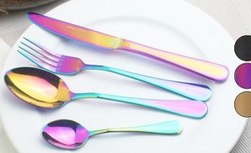 Stainless Steel Cutlery Sets in 3 Colours - 4, 16 or 32-Piece Sets