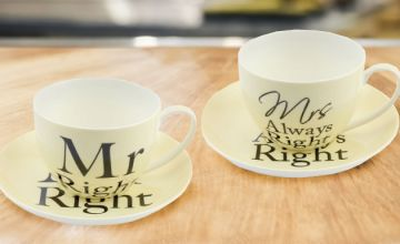 Mr. Right And Mrs. Always Right Saucer Set