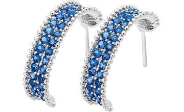 Silver-Plated Blue Simulated Sapphire Earrings