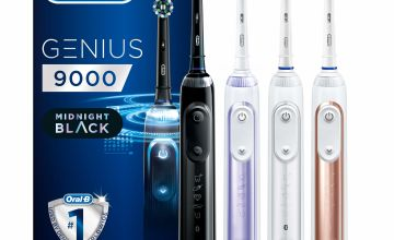 Save on Oral-B Genius 9000 CrossAction Electric Toothbrush, 1 Midnight Black App Connected Handle, 6 Modes with Sensitive and Gum Care, Pressure Sensor, 4 Toothbrush Heads, USB Travel Case, 2 Pin UK Plug and more