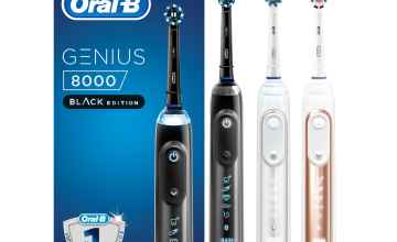 Oral-B Genius 8000 Electric Toothbrush, 1 Silver App Connected Handle, 5 Modes with Sensitive and Gum Care, Pressure Sensor, 3 Toothbrush Heads, Standard Travel Case, 2 Pin UK Plug