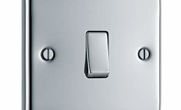BG Electrical Single Light Switch, Polished Chrome, 2-Way, 10AX