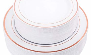 "WDF 60Pieces Disposable Plastic Plates Set,30-10.25"" Dinner"