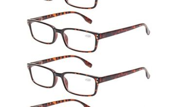 4-Pack Reading Glasses Spring Hinges Comfortable Readers