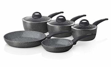 Save on Tower Frying Pan and Saucepan Set, Cerastone, Forged Aluminium with Easy Clean Non-Stick Ceramic Coating, Graphite, 5 Piece and more