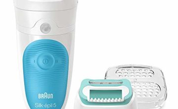 Braun Silk-Epil 5-511 Starter Kit Wet and Dry Epilator for Women Cordless Epilation and Hair Removal Plus Beginners Cap 3 Attachments, 2 pin plug