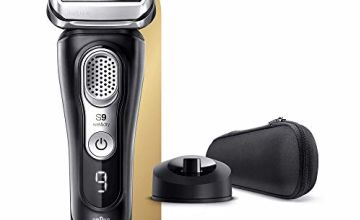 Braun Series 9 9340s Latest Generation Electric Shaver Charging Stand Fabric Case Noir, 2 pin plug