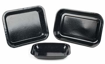 Russell Hobbs CW20701AR 3-Piece Vitreous Enamel Roaster and Chop Tray Set, Carbon Steel, Black