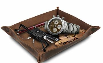 Save on Londo - Genuine Leather Tray Organizer - Practical Storage Box for Wallets, Watches, Keys, Coins, Cell Phones and Office Equipment and more