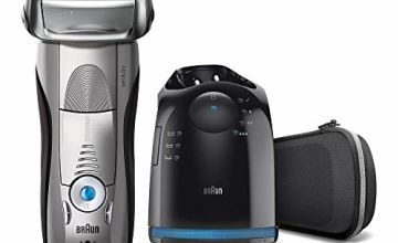 Braun Series 7 Electric Shaver for Men 7898cc Wet and Dry Integrated Precision Trimmer Rechargeable and Cordless Razor with CleanandCharge Station and Premium Travel Case Silver, 2 pin plug