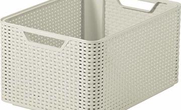 Curver Style Large Rectangular Storage Basket, Vintage White, 30 Litre