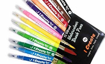 I CREATE ® Premium Watercolour Nylon Brush Pens - 12 Pack wi