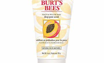 Burt's Bees 99.9% Natural Peach and Willow Bark Deep Pore Exfoliating Facial Scrub, 110 grams